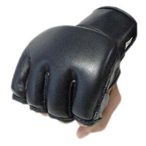 Black Leather 4oz Fight Gloves MMA Black Grappling