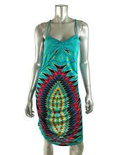 Custo Barcelona Dress 2 Turquoise Stretch Spaghetti Strap Geometric Print $178