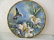 PICARD  PORCELAIN  - RUBY THROATED  HUMMINGBIRD AND LILIES BY CINDY NELSON