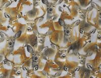 FAT QUARTER  WHITE TAIL DEER FABRIC  IN THE WOODS  QUILTING TREASURES  FQ