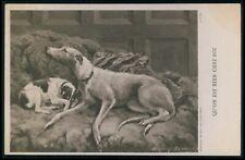 art Edwin Landseer ? Greyhound & Fox Terrier dog original 1910s postcard