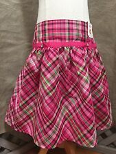 NEW Gymboree PINK PLAID PARTY SKIRT Bias Cut TULLE HEM Gem Bows 10 CHEERY GIFT
