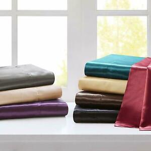 3 PC Duvet Set + Fitted Sheet 1000 TC Satin Silk US Twin & Solid Colors