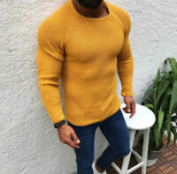 Men's Crew Neck Knitted Solid Winter Fashion Warm Base Shirt Sweater Long Sleeve