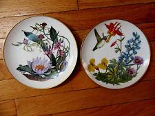Set 2 Porcelaine Plates Flowers of American Wilderness Bavarian Porcelain Hummin