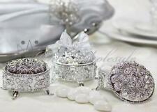 2.5 Inch Plastic Trinket Box Wedding Favor Table decorations Silver (12 Pieces)