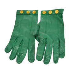 Authentic HERMES Selye Logos Ladies Gloves Green Leather Vintage Size 7 V14060