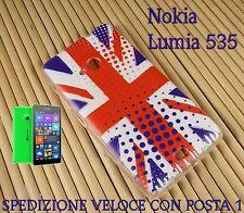 Cover custodia in gomma di silicone Smartphone Nokia Lumia 535 BANDIERA INGLESE