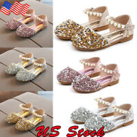 Infant Toddler Kids Baby Girls Pearl Bling Sequins Single Princess Shoes Sandals