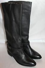 NEW! SCHUTZ Pebbled Black Leather Chain Link Harness Moto Biker Boots Sz $384