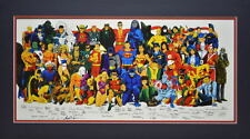 DC SUPER HEROES COLLAGE PRINT PROFESSIONALLY MATTED w Who's Who List of Artists