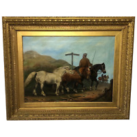 """19th Century Oil Painting Horses """"On The Road"""" To Chester Edward Lloyd Ellesmere"""