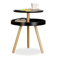 daeedf16c17641 Relaxdays Table d appoint ronde avec surface rangement en bois 3 pieds  canapé.