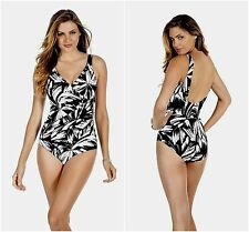 Miraclesuit One Piece Sz 12 Black White Oceanus Swimsuit Ruched Swimwear 450488