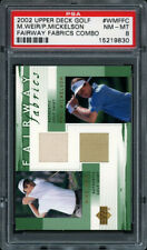 2002 UPPER DECK FAIRWAY FABRICS COMBO MIKE WEIR, PHIL MICKELSON RC GU PSA 8