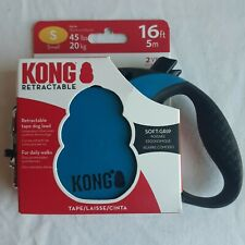 KONG ESSENTIAL TAPE RETRACTABLE LEASH 16FT FOR DOGS UP TO 45LBS SIZE S BLUE
