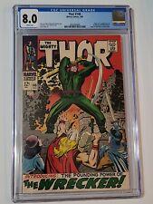 Thor #148 CGC 8.0 / White Pages / 1968 / 1st Wrecker / Black Bolt Origin