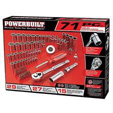 "Powerbuilt 71 Piece Socket Wrench Ratchet Set 1/4"" 3/8"" SAE Metric New"