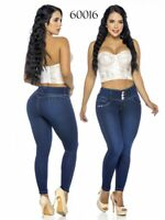 Colombian Wide Band Waist Butt Lifter Jeans Dark Blue Levanta Cola Slimming Sexy
