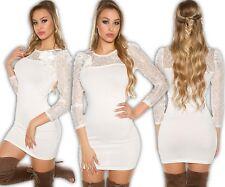 KOUCLA Vestito mini abito in maglia pullover maglione lungo pizzo di spilla W