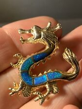 Sterling Silver Gold Finish Blue/Green Opal Inlay Dragon Pendant Very Detailed!!