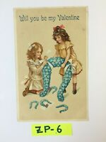 C.1912 Will You Be my Valentine Two Girls Flowers OLD Vintage Postcard ZP-6