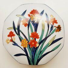 "Tiffany & Co Porcelain Jewelry Trinket Box Imari Hand Painted China Freesia 6"""