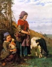 Oil painting henry campotosto  deux jeunes bergeres young shepherdess & lamb art