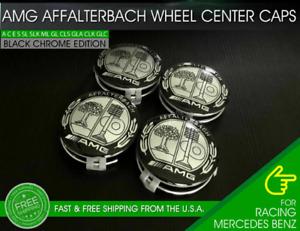 AMG Affalterbach Wheel Center Caps Emblem 75MM Mercedes Benz Wreath Rim 4 PCS OE