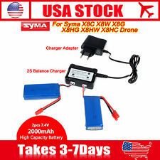 2x 7.4V 2000mAh 25C Battery Set + 2S Charger US Plug For Syma X8HC X8HW X8HG