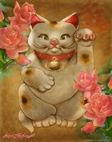 Good Luck by Renee Biertempfel Fantasy Art Maneki Neko Cat Poster 12x18