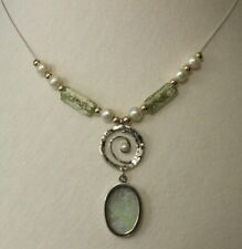 Necklace - 925 Sterling Silver Ancient Roman glass with pearls Original Gift