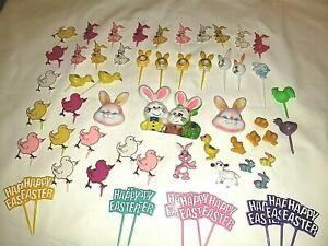Vintage Easter Cake Decorations Cup Cake Decorations