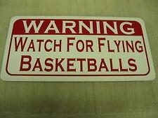 Watch For Flying Basketballs Metal Sign 4 Practice Court Rim Hoop Vintage Style