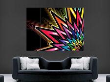 Pared Gigante Neon Arte Abstracto Trippy cartel Impresión de Foto Grande