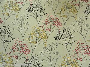 Sanderson Curtain Fabric PIPPIN 3.85m Magenta/Citrus Cotton Stylised Motif 385cm