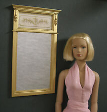 "TRUMEAU  MIRROR ~ For  TYLER ~ Furniture ~ 1:4 scale ~DIORAMA ~ Gold ~ 16"" Doll"