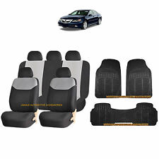 12PC GRAY ELEGANT AIRBAG SEAT COVERS & BLACK RUBBER FLOOR MATS SET FOR CARS 3864