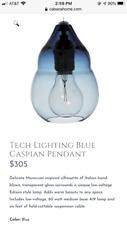 Modern 'Tech Lighting' Blue Caspian Pendant Lights (set of 3) w/ Edison bulbs