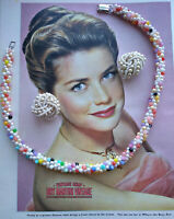 VINTAGE 60s PRETTY CANDY COLOUR FAUX PEARL CZECH BEADS NECKLACE & CLIP EARRINGS
