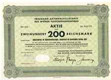 Treuhand AG des Wiener Fleischerhandwerks  Wien 1944
