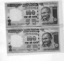 INDIA GANDHI 100 RUPEES PREVIOUS ISSUE LADDER NUMBERS 123456- 2 UNC PCS