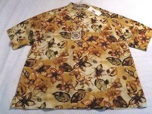 Pusser's Island Reserve 100% Silk Maize Floral Color Shirt Sz:Large Retails:$110