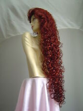 "Super Long Curly Wig! Wild Girl!   Dark Auburn/Fox Red   40""    D19"