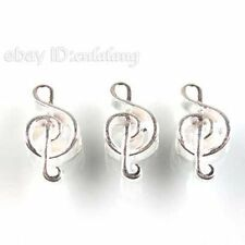 20x Silvery Plated Music Note Zinc Alloy Beads Charms Fit European Bracelet D
