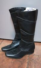 K by Clarks Boots. Black leather.Narrow wedge heel. Mid calf. Size 4.