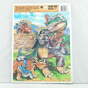 Dino Riders Frame Tray Puzzle 1988 TYCO Golden Books T-Rex Triceratops