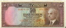 Turkey 1930 ( 1942-44) 50 Kurus p-133 Inonu AU+