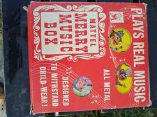 VINTAGE TIN MATTEL MERRY MUSIC BOX. WORKING #501 kids child's Toy original box