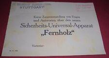 fragen antwort heft alt fernholz apparat / hommel stuttgart reklame werbung 1926